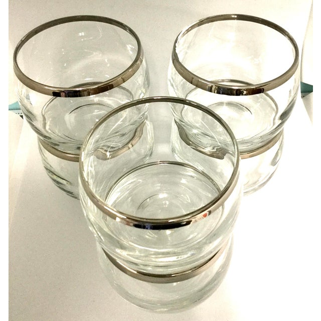 Dorothy Thorpe 1960s Dorothy Thorpe Small Highball Silver Rim Glasses - Set of 6 For Sale - Image 4 of 7