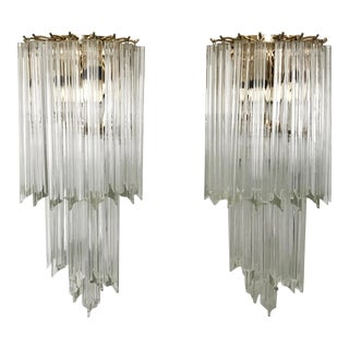 1970s Contemporary Venini 3 Tier-Triadri Wall Sconces - a Pair For Sale