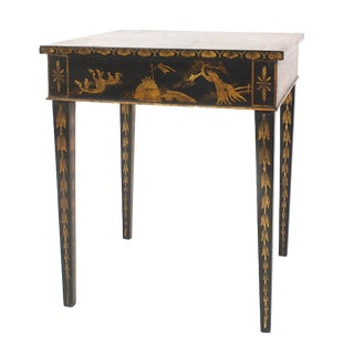 English Regency Black Lacquered Chinoiserie End Tables For Sale