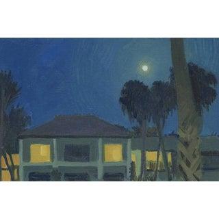 Full Moon in Caribbean: Original Oil Painting Plein Air Landscape For Sale