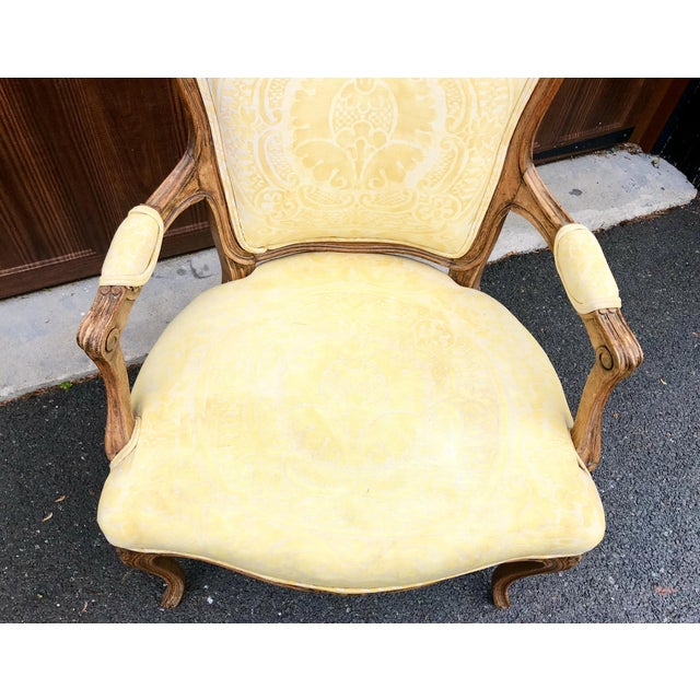 19th Century Louis XV Fauteuil in Fortuny Fabric For Sale - Image 9 of 12