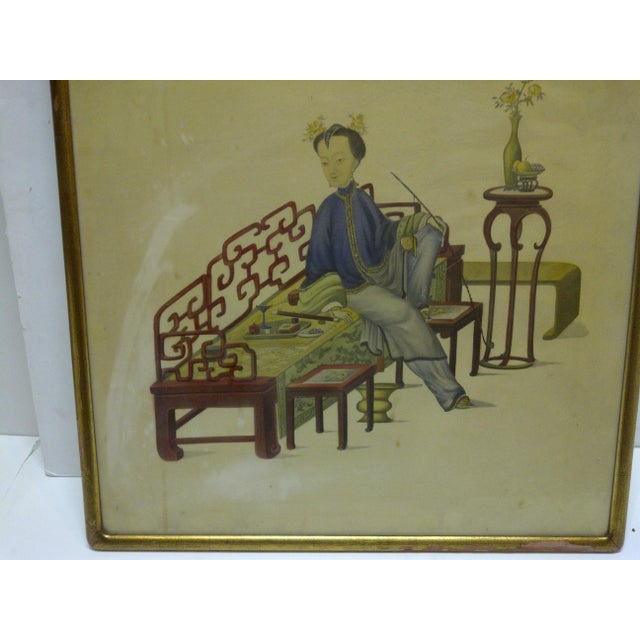 "Asian Vintage ""Relaxing"" Framed Chinese Print For Sale - Image 3 of 5"