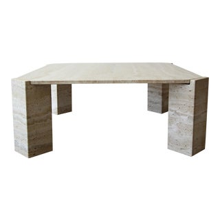 1970's Square Italian Travertine Coffee Table