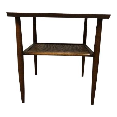 Mid Century Walnut Wicker Shelf Side Table For Sale