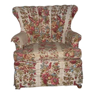 Antique Country Floral Upholstered Living Room Armchair