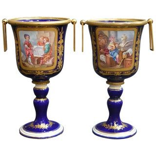 Pair of 19th Century Sevres Open Challis For Sale
