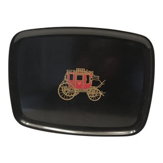 1960s Couroc of Monterey Wells Fargo Stagecoach Tray For Sale