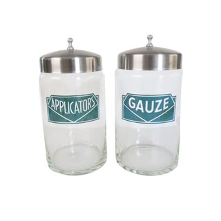 Vintage Applicators and Gauze Clear Glass Apothecary Storage Jars With Metal Lids Set of 2