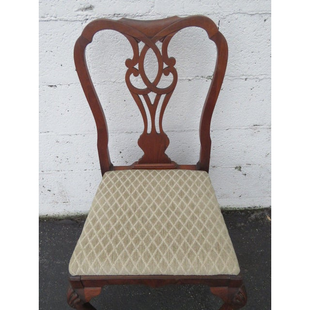 Brown Carved Desk Vanity Chair by Berkey and Gay Furniture For Sale - Image 8 of 10
