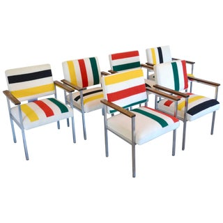 Mid-Century Chairs With Stainless Frames, Wood Arms & Pendleton Stripes For Sale