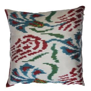 Contemporary Silk Ikat Bohemian Throw Pillow For Sale