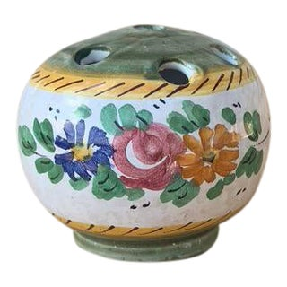1990s Hand Painted Italian Ceramic Floral Frog For Sale