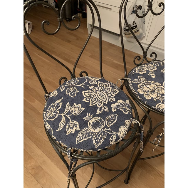 Silver Wrought Iron Barstools - A Pair For Sale - Image 8 of 9