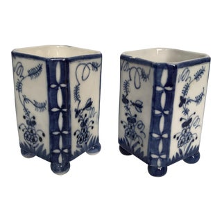 Blue & White Porcelain Square Vases - A Pair For Sale