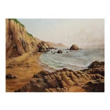 Image of Rocky Coastal Seascape Oil Painting by August Wolf For Sale