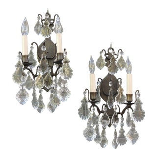 French Wired 2 Light Wall Sconces Electric Wall Lights With Crystal Prisms - a Pair For Sale