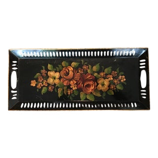Mid-Century Hand Painted Black Floral Tole Tray