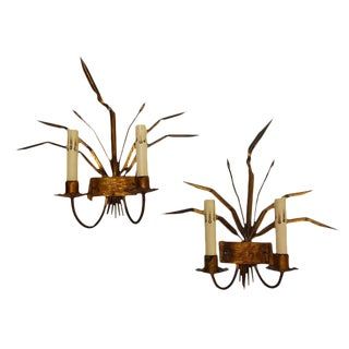 Gilded Metal Sconces From Barcelona - a Pair For Sale