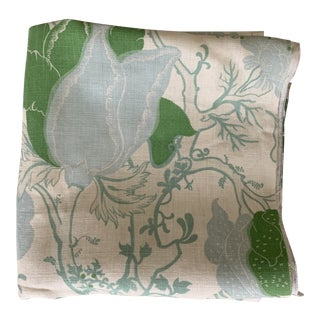 Designer Blue and Green Floral Linen Fabric For Sale