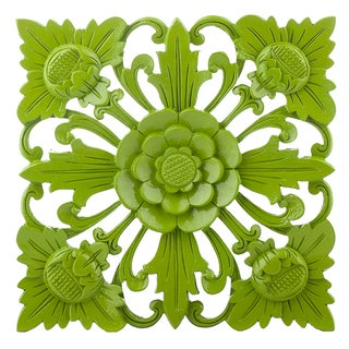 Retro Green Floral Wall Square, Large For Sale