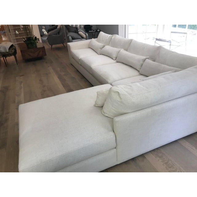 Boho Chic White L-Shaped Sectional Sofa For Sale - Image 3 of 13