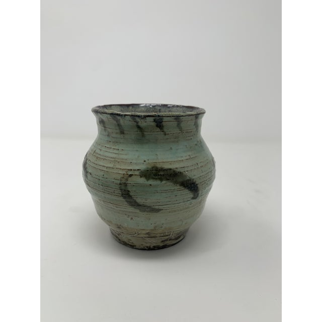Mid-Century Modern Late 20th Century Short Green Ceramic Vase For Sale - Image 3 of 11