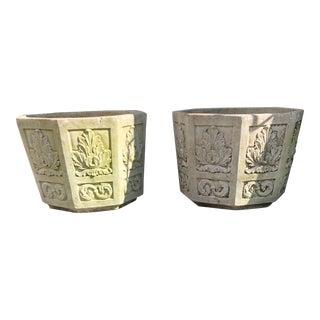 Cast Stone Cement Octagonal Jardinieres Planters Flower Pots - a Pair For Sale