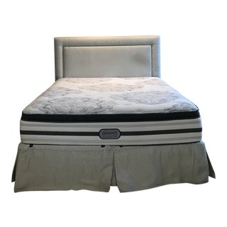 Scalamandre Silk King Size Custom Headboard With Bed Skirt & Left Over Fabric For Sale