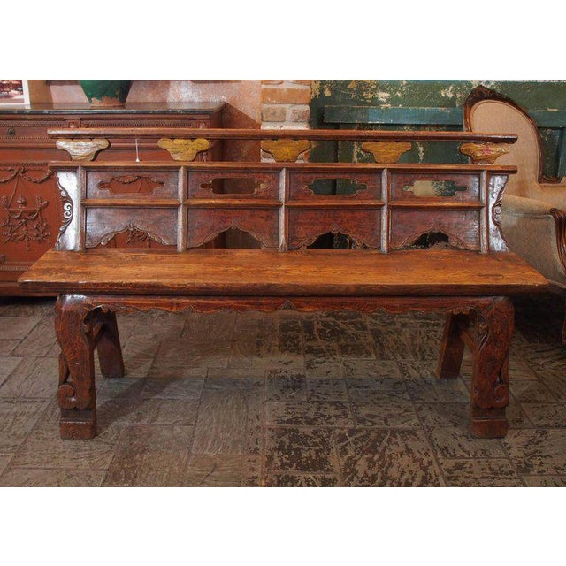 Antique Chinese Shanxi Province painted elm bench, circa 1860.