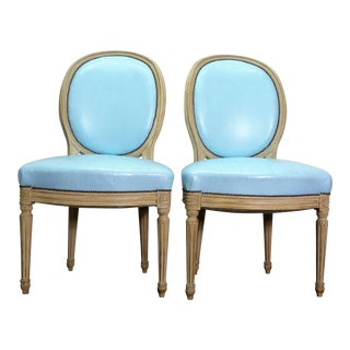 Classic Balloon Back Chairs With Tiffany Blue Leather Upholstery - a Pair For Sale
