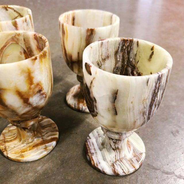 1980s Carved Onyx Goblets, Set of 6 For Sale - Image 5 of 8