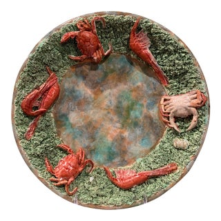 Portuguese Ceramic Barbotine Wall Hanging Platter With Crab and Shrimp Decor For Sale