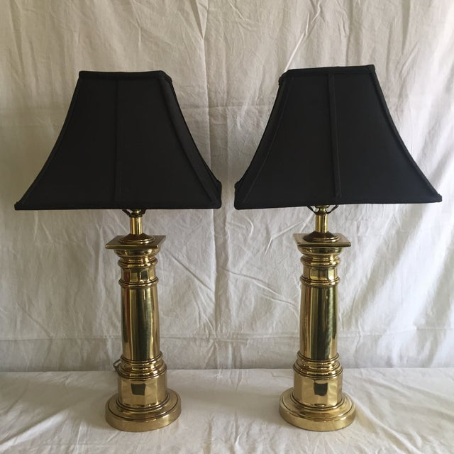 Ethan Allen Brass Column Table Lamps - A Pair - Image 2 of 8