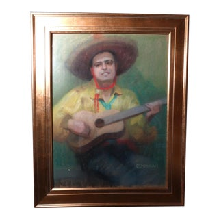 "1940s Eleanor Merriam Lukits ""The Guitar Player"" Oil Pastel on Board Painting For Sale"