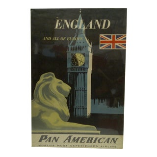 Circa 1960 Pan American Airlines England & All of Europe Travel Poster For Sale