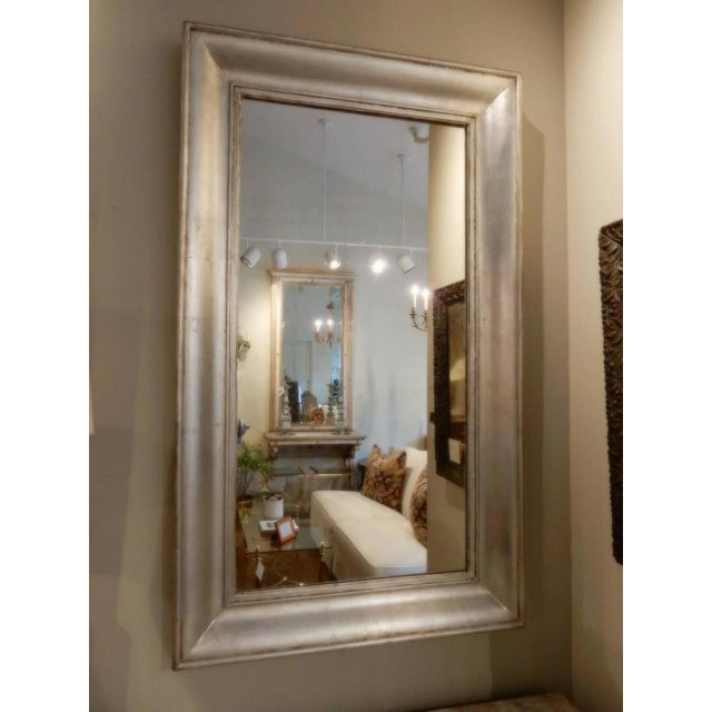 Silver leaf 19th century French mirror with original glass. Circa 1840.