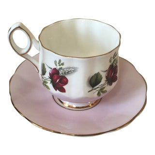 Elizabethan Bone China Purple Red Rose Gold Teacup and Saucer For Sale