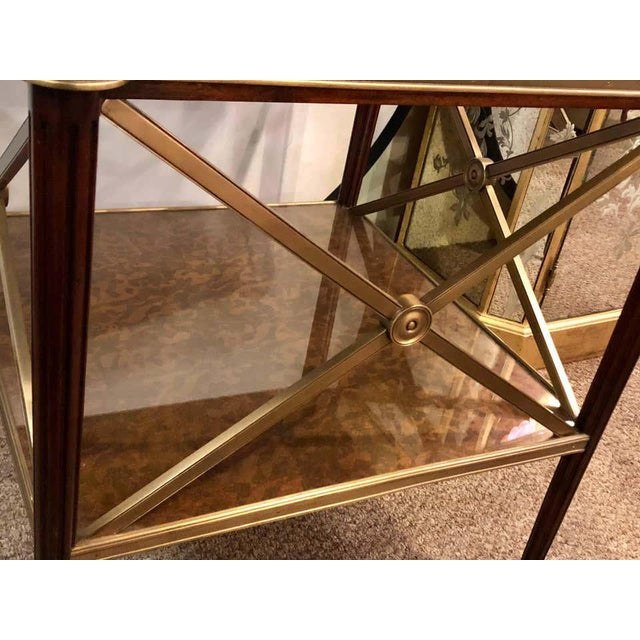 1960s Hollywood Regency Bronze Decorated End Table X-Base Sides Tortoise Glass Top For Sale - Image 5 of 11