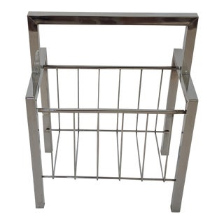 1970s Milo Baughman Chrome Magazine Rack Holder For Sale