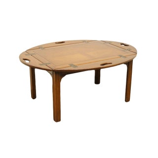"""20th Century Traditional Style Mahogany Banded Bookmatched 42"""" Accent Butler's Coffee Table For Sale"""