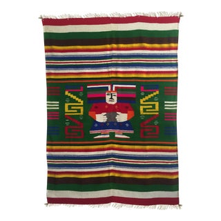 Vintage 1960's Hand Woven Mayan Zapotec Mexico Wool Blanket For Sale