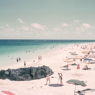 1960s Vintage Summer Beach Umbrellas Photograph Print For Sale