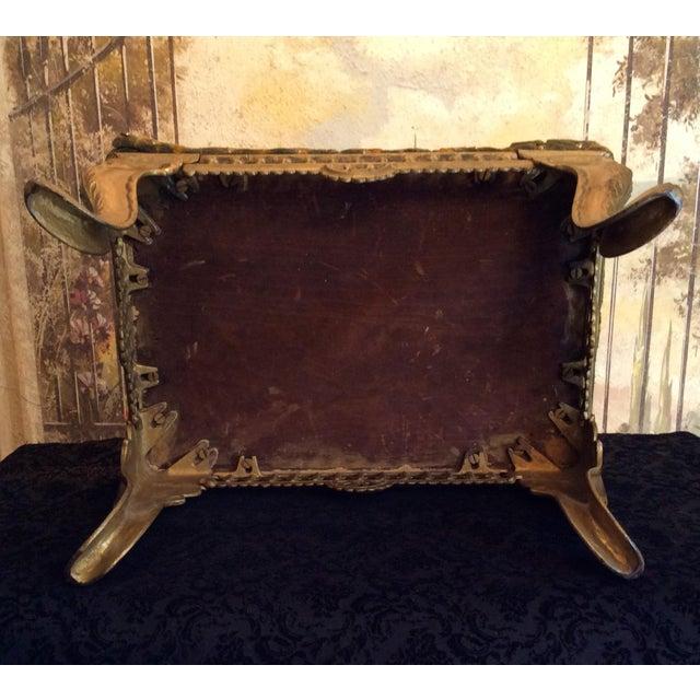 Green 1920s Vintage Victorian Cast Iron Velvet Gilt Footstool For Sale - Image 8 of 11