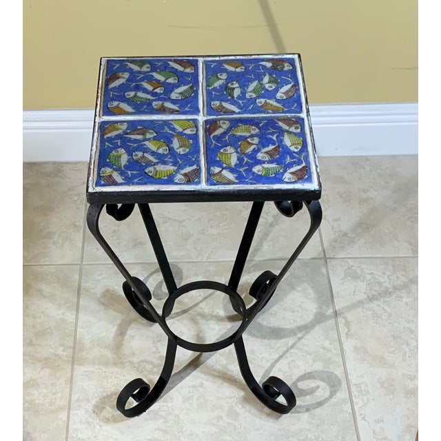 Vintage Persian Tile Side Table For Sale - Image 9 of 13