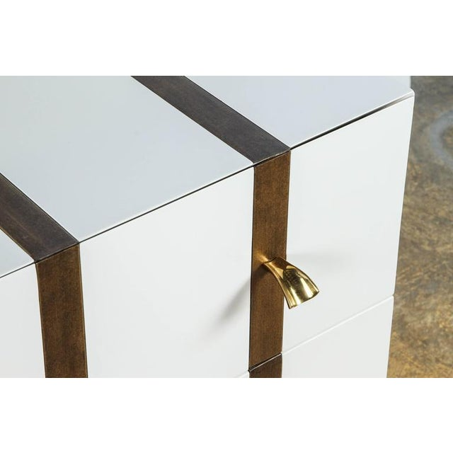 Paul Marra Two-Drawer Banded Chest in Lacquered Finish and Inset Iron Band - Image 2 of 8