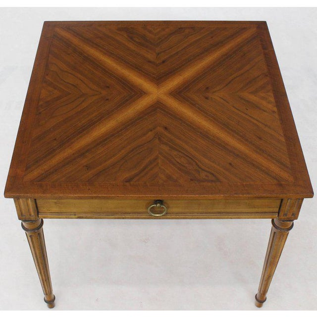 Mid-Century Modern Baker Square Satinwood Side Lamp Table For Sale - Image 3 of 10