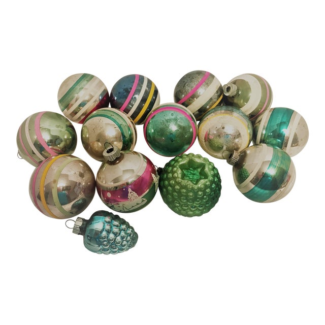 Vintage 1950s Shiny Brite Glass Ornaments - Set of 14 For Sale