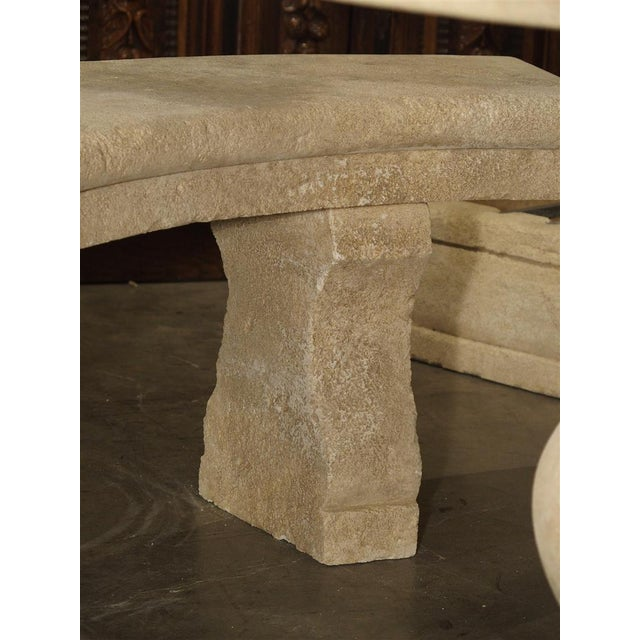 Early 21st Century Small Carved Limestone Garden Bench from Provence, France For Sale - Image 5 of 9