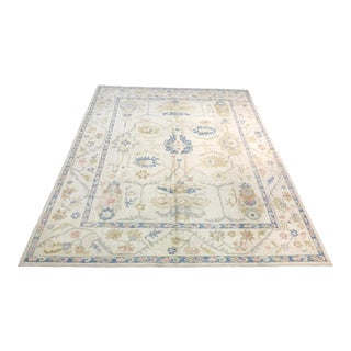 1980s Handmade Double-Knotted Turkish Oushak Rug - 9′3″ × 12′3″ For Sale
