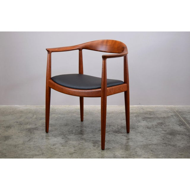 Early Hans Wegner for Johannes Hansen Jh-503 'The Chair' in Teak & Leather For Sale - Image 13 of 13